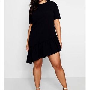 BOOHOO PLUS Assymmetrical Shift Ruffle Dress sz 16